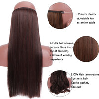 SHANGKE Synthetic Straight Halo Hair Extensions No Clip in Natural Hidden Secret False Hair Piece Fiber Synthetic Wavy Hair 2