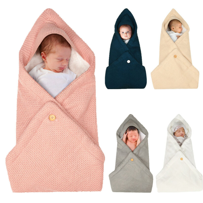 Autumn Winter Newborn Baby Sleeping Bags Infant Thickening Plus Velvet Knitted Swaddle Wrap Blanket Fleece Warm Stroller Wrap