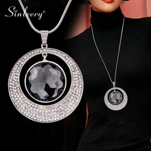 Necklace Black Round Pendant Women Jewelry SINLEERY Silver-Color Vintage Big for My316/ssf