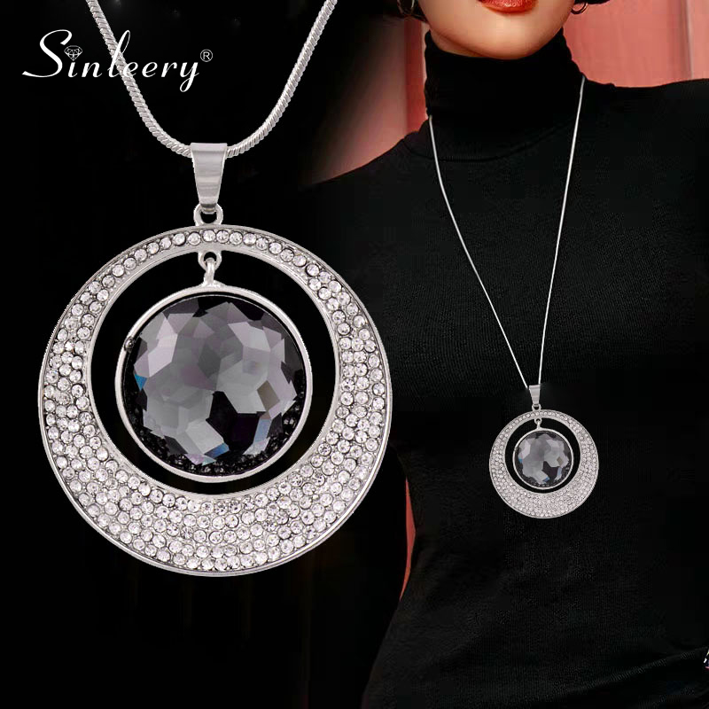 SINLEERY Vintage Big Hollow Round Pendant Necklace Black Gun Silver Color Black Zirconia Necklace For Women Jewelry MY316 SSF(China)