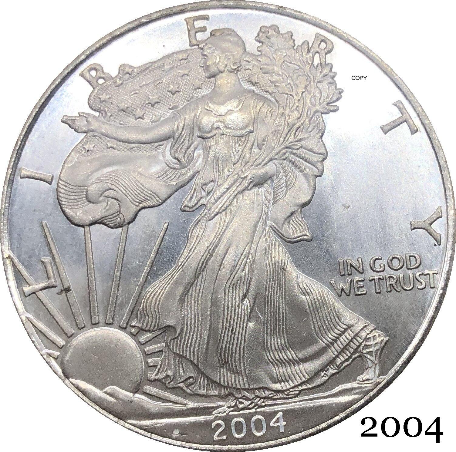Соединенные Штаты Америки 2004 W In God We Trust 1 OZ Изящные серебряные слитки орлы один доллар Посеребренная копия памятная монета