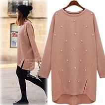 Large-size-women-s-2019-Autumn-Round-Neck-pullover-long-Sleeve-Split-beading-sweater-Plus-Size