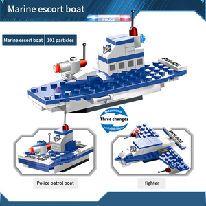 Image 4 - 762PCS City Police Series Building Blocks 8 in 1 Vehicle Helicopter City Police Station Compatible DIY Bricks Blocks Toys Kids