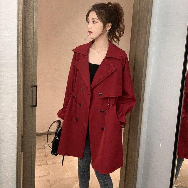 FTLZZ Women Windbreaker Spring Autumn Classic Trench Coat Casual Thin Female Overcoat Long Coat Female Slim Outwear Coats 3