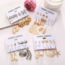 6 Pairs/Set Boho Shell Earrings Set For Women Bohemian Flower Tassel Long Earring Stud Female 2019 Brincos Fashion Beach Jewelry цена