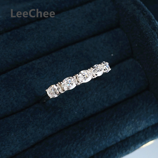 3*4MM Oval Moissanite Ring VVS 5 Pieces Lab Diamond Fine Jewelry for Girl Wedding party Gift Real 925 Sterling Silver Band Ring 1