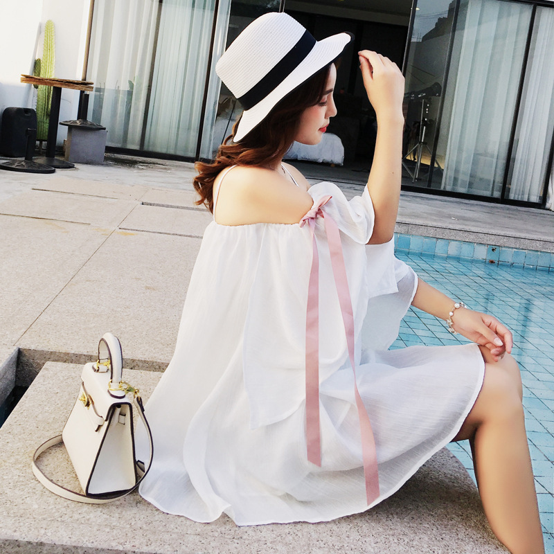 Japanese Korean New Style Special Offer Holiday Beach Skirt Sexy Off-the-Shoulder Sweet Loose-Fit Fairy Outdoor Women's