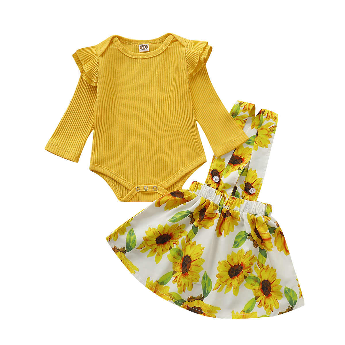 2PCS Toddler Baby Girls Autumn Clothes Sets Yellow Cotton Knit Romper Tops Sunflower Strap Dress Outfits