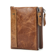 Crazy Horse Genuine Leather Men Wallets Short Credit Business Card Holders Double Zipper Cowhide Leather Wallet Purse Carteira