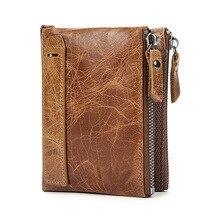 Çılgın at hakiki deri erkek cüzdan kısa kredi kartvizitlikler çift fermuar dana deri cüzdan çanta Carteira