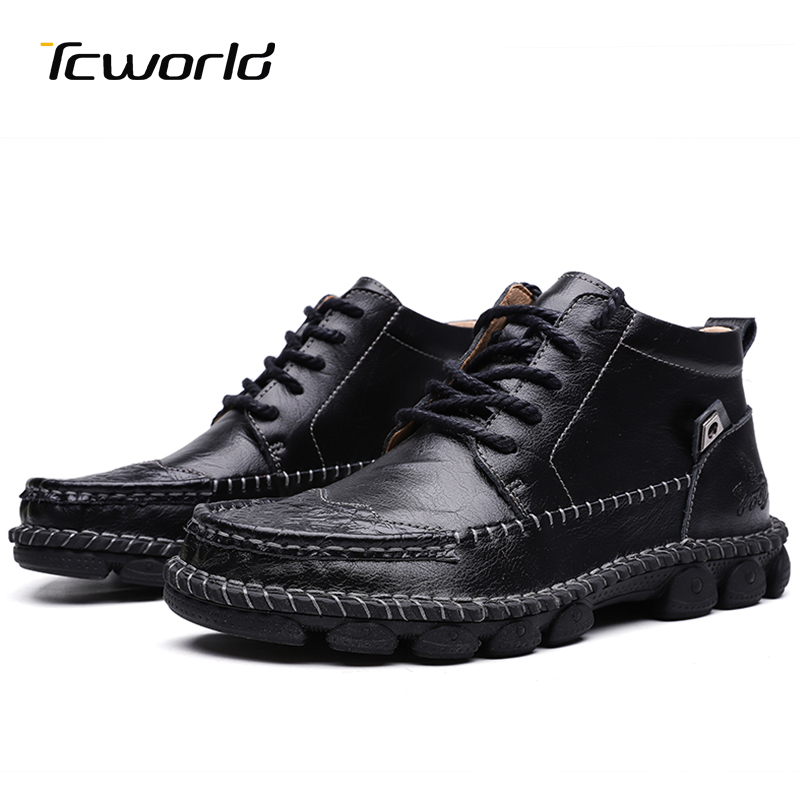 Men's Winter Shoes Genuine Leather Ankle Boots Classic Black Botas Hombre Casual Shoes High Quality Fashion Lace-Up Boots Men