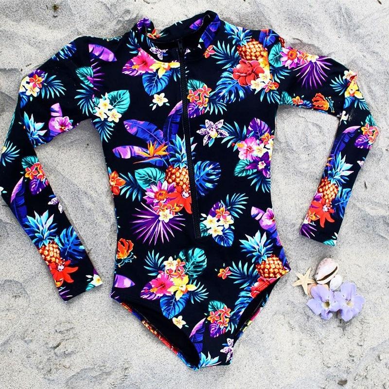 Цельный купальник с геометрическим принтом, одежда для плавания с длинным рукавом, женский купальный костюм, ретро купальник, винтажный Цельный купальник для серфинга - Цвет: PO19450D1