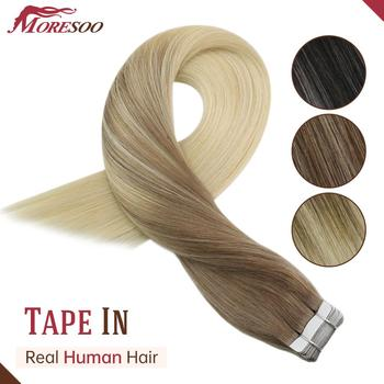 Moresoo Tape Extensions Human Hair Remy Machine 12-24 Inch Skin Weft Straight Brazilian Hair Natural Hair Extensions isheeny remy human hair tape extensions straight 12 22 skin weft seamless hair extension samples for salon hair testing