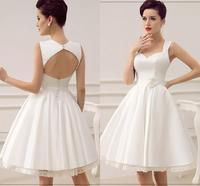 2020 Wedding Dresses Satin 1950's Vintage Bridal Dress Open Back Lace Trim Flower Sash Wedding Reception Dress Beach Vestidos