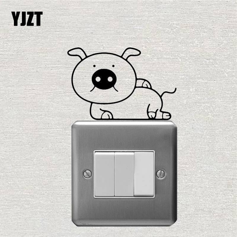 YJZT Cartoon Animal Pig Wall Switch Sticker Living Room Decor Modern Art Vinyl Decal S19-0337