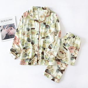 Image 4 - 2 Suits Sleepwear Autumn Classical Magpie Printing Satin Pajamas Long Sleeve Loungewear Women Turn down Collar Thin Home Clothes