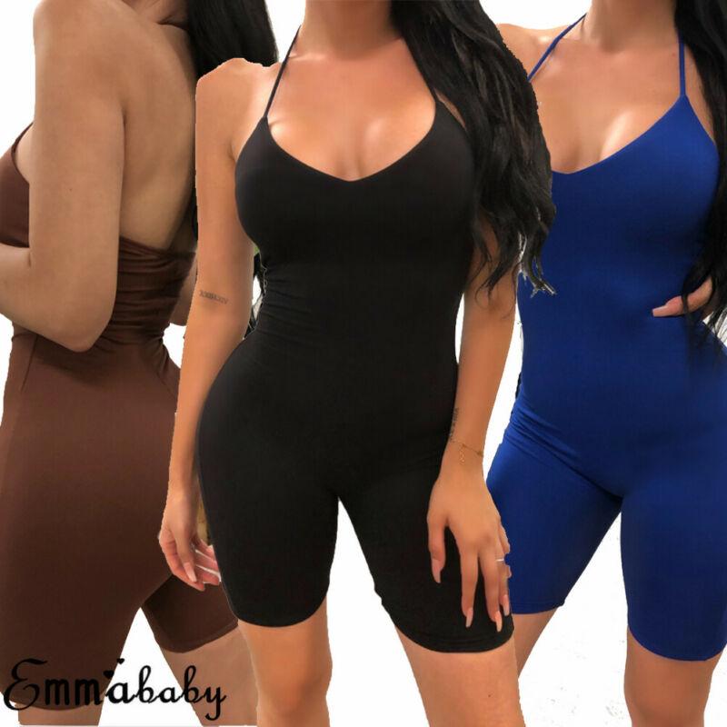 Women Soild Jumpsuit Shorts Fitness Workout Gym Sport Bodysuit Athletic Leggings One Pieces Playsuit