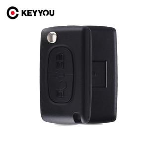 Image 1 - Keyyou 20x2 botões remoto flip carro chave do escudo fob para peugeot 307 308 107 207 407 408 com sulco ce0523