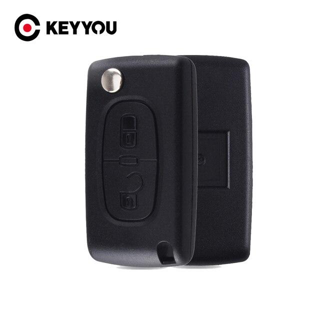 Keyyou 20x2 botões remoto flip carro chave do escudo fob para peugeot 307 308 107 207 407 408 com sulco ce0523