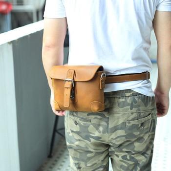Multi-function Men Waist Fanny Belt Pack Small Genuine Leahter Men's Crossbody Shoulder Bag Out-door Travel Riding Moto Bags