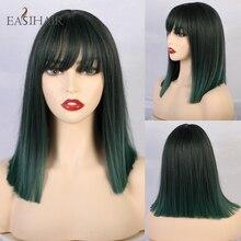 EASIHAIR Green Ombre peruki syntetyczne proste z Bangs dla kobiet żaroodporne Cosplay peruki średniej długości włosy Bob peruki