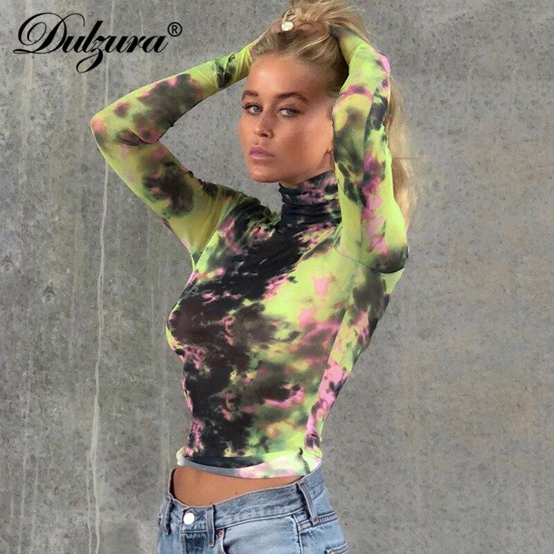 Dulzura Women Tie Dye T Shirt Crop Top Gloves Cute Streetwear Festival Clothes High Neck Bodycon Funny Weird 2019 Autumn Winter