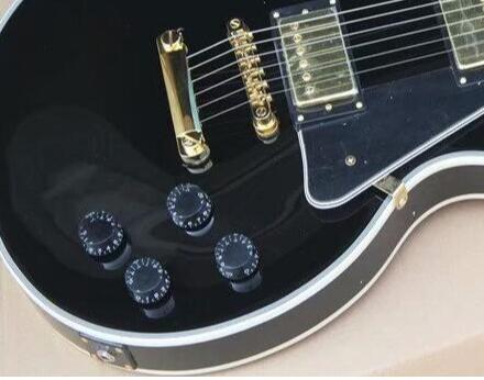 Free Shipping China Custom Guitar High Quality Musical Instrument Ebony Fretboard Black Electric Guitar 2