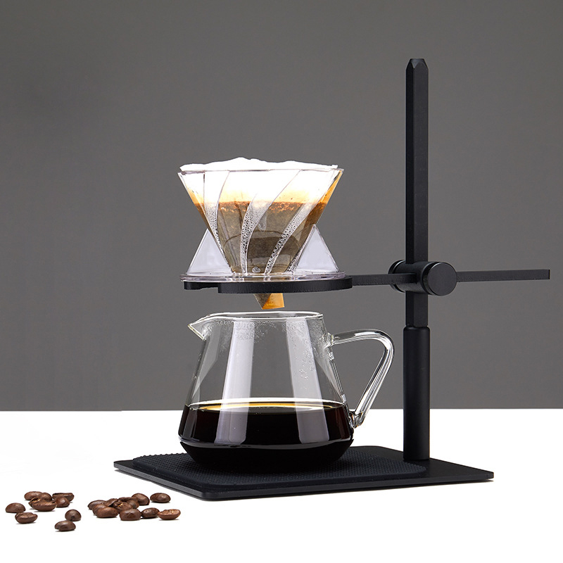 Stainless Steel Black Paint Height Adjustable Detachable Holder with Non Slip Pads for Home Cafe Restaurant LQKYWNA Pour Over Coffee Dripper Stand