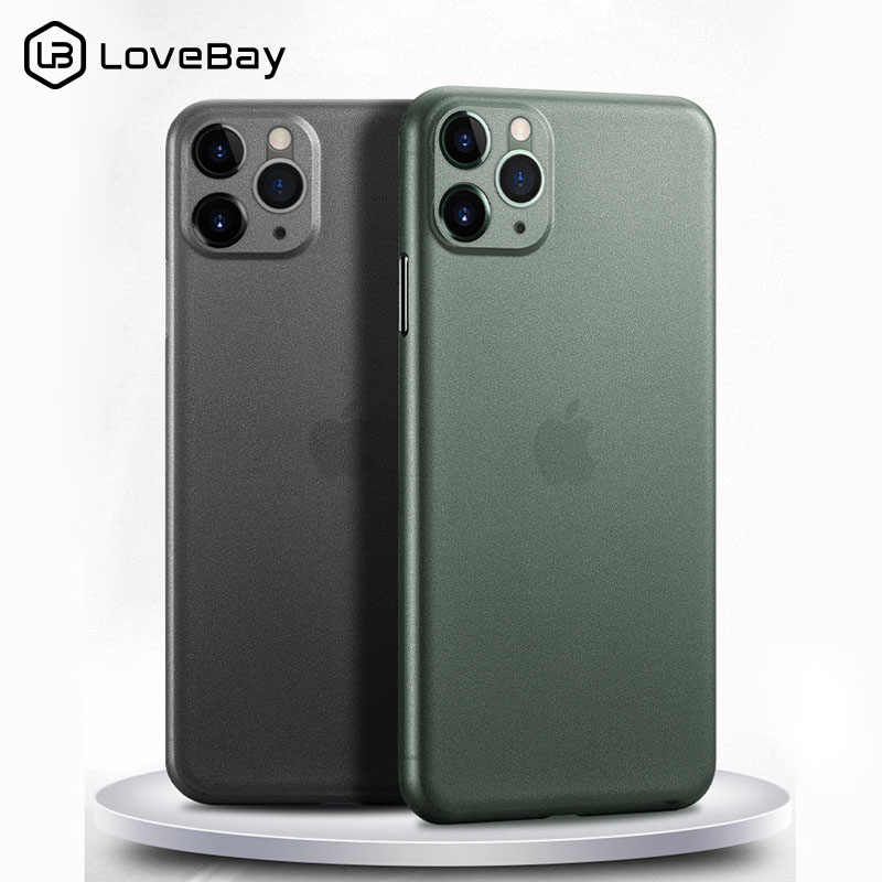 Lovebay 0,26mm Ultra delgado para iPhone 7 funda para iPhone 11 Pro X XR XS Max 7 8 6 6s Plus 5S SE mate transparente funda trasera para teléfono