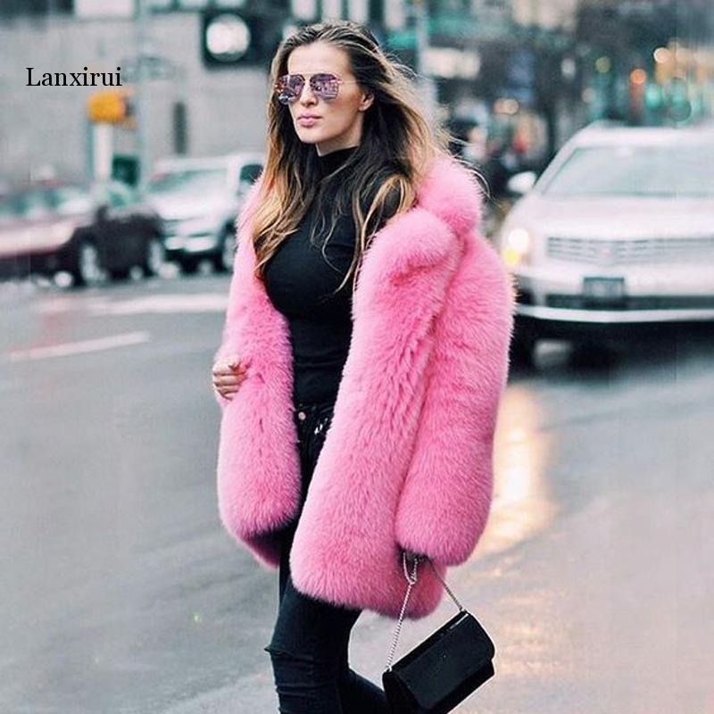 Faux Rabbit Fur Coat Women Pink Black Plus Size Loose Fur Jacket  New Spring Winter Office Thick Warmth Coats Feminina