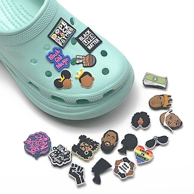 1PCS JIBZ PVC Croc Shoe charms Black Girl Magic Shoe Button Accessories Buckle Decorations JIBZ Charm for Girl Gift