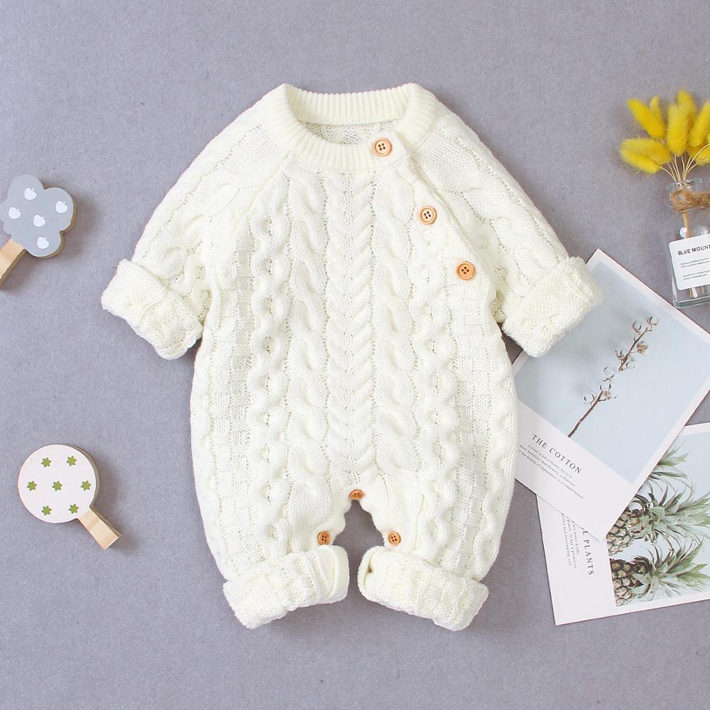 Детский комбинезон с длинным рукавом, Зимний Теплый Вязаный комбинезон для маленьких мальчиков и девочек, Свитера для малышей, Осенняя детская одежда|Ромперы| | АлиЭкспресс