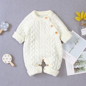 Baby Rompers Long Sleeve Winter Warm Knitted Infant Kids Boys Girls Jumpsuits Toddler Sweaters Outfits Autumn Children's Clothes