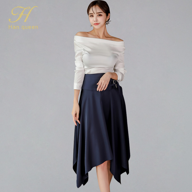 H Han Queen 2019 Autumn Women Elegant 2 Pieces Suits Sexy Slash Neck White Blouses & High Waist Irregular A-line Swing Skirt Set