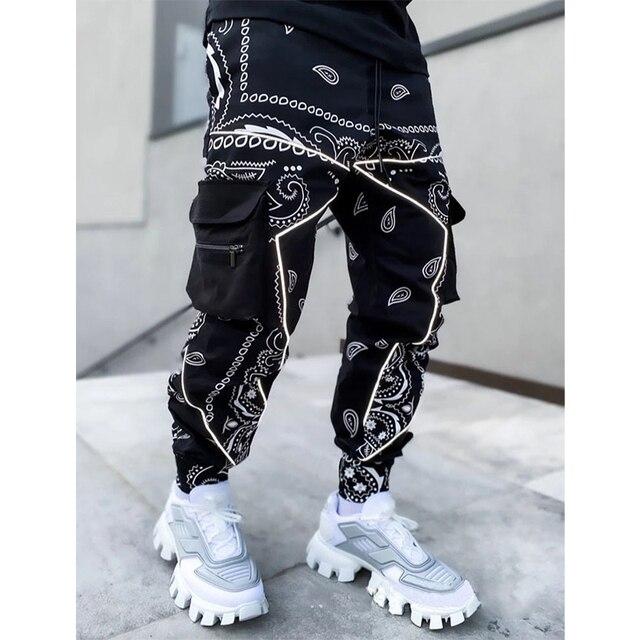 Hip hop printing pants men trousers fashion streetwear sweatpants for men joggers High street Loose cargo pants men 2