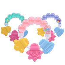Baby Silicone Teether Bracelet Teething Biting Rattle Toy 3 Colors Handbell Jingle Beads Molar Stick