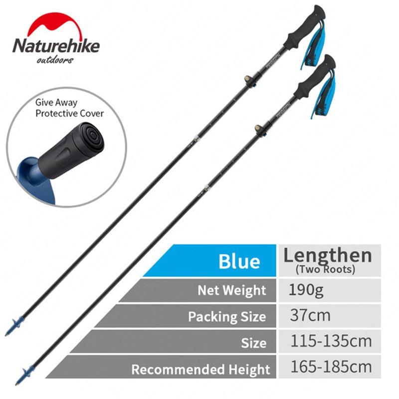 naturehike 175g fibra de carbono de alta resistencia 5 secao bengala vezes externamente bloqueado polo trekking
