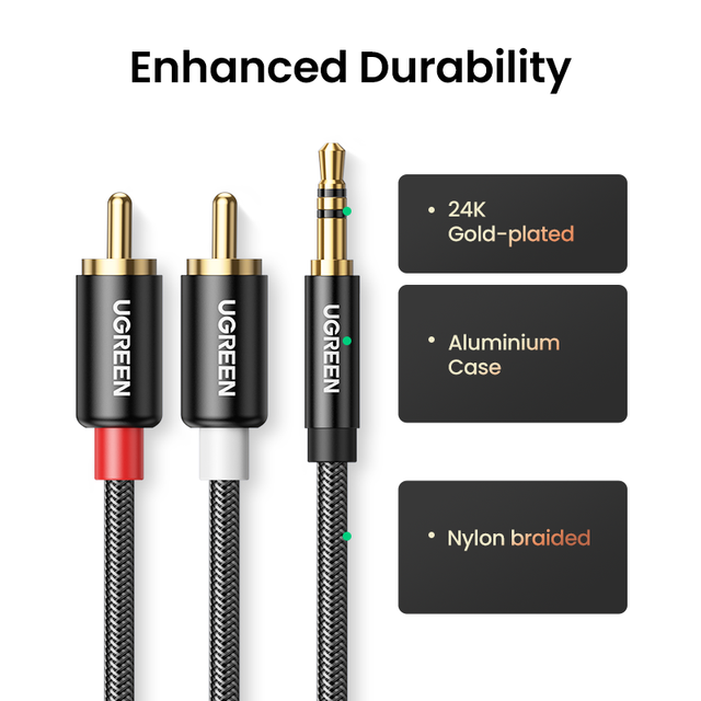 UGREEN RCA Cable HiFi Stereo 2RCA to 3.5mm Audio Cable AUX RCA Jack 3.5 Y Splitter for Amplifiers Audio Home Theater Cable RCA 3