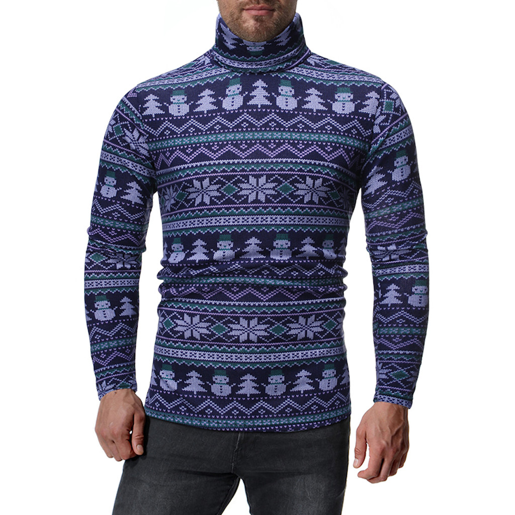Womail Snowman Print Christmas Sweater Men No Cap Simple Mens Pullover Sweaters Long Sleeve Turtleneck Sweater Mens Pullover