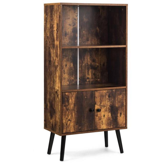 2-Tier Retro Bookcase Bookshelf w/3 Compartment 1