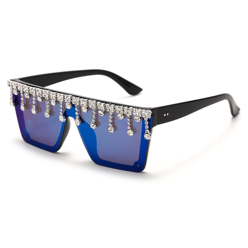 Новые квадратные солнцезащитные очки большого размера с бриллиантами