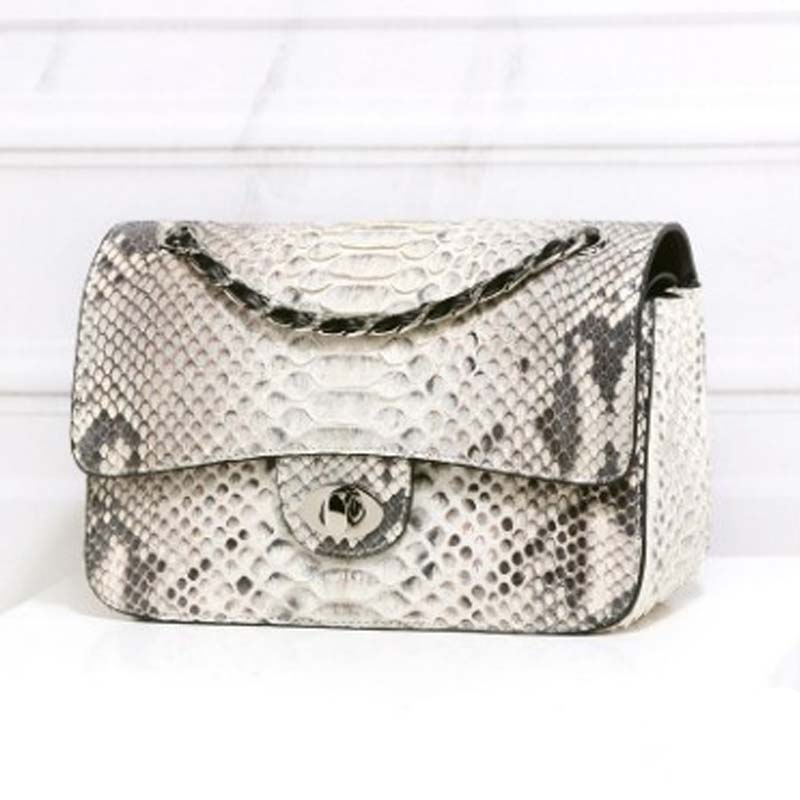 LINSHE import  Python skin  Female bag  package  The new  Small sweet wind  The chain package  One shoulder  Inclined shoulder