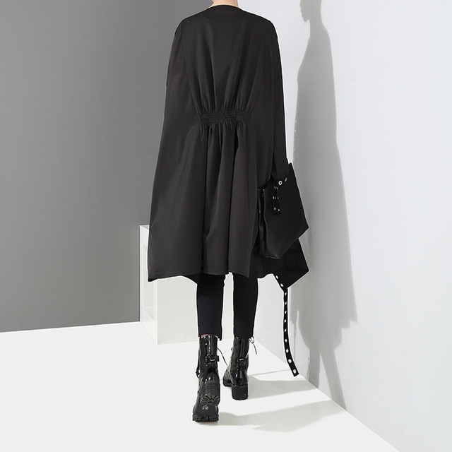 [EAM] Loose Fit Black Hollow Out Ribbon Pleated Big Size Jacket New V-collar Long Sleeve Women Coat Fashion Spring 2021 1D756 4