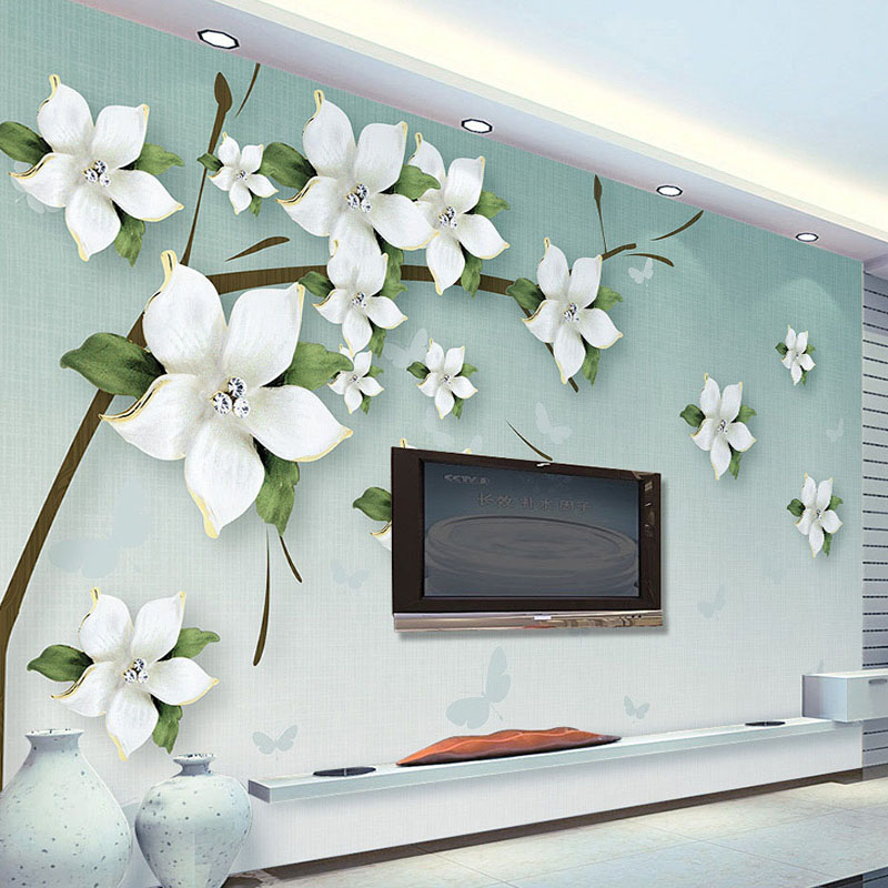 Drop Shipping Custom 3D Wall Mural Modern Simple Green Relief Jasmine Flowers  TV Sofa Backdrop Wall Painting Home Decor