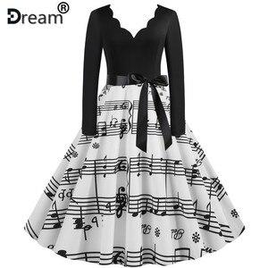 Women Long Sleeve Winter Vintage Dresses Sexy Black Music Note Print V-neck Rockabilly Pin Up Party Dress Vestidos Plus Size 3XL