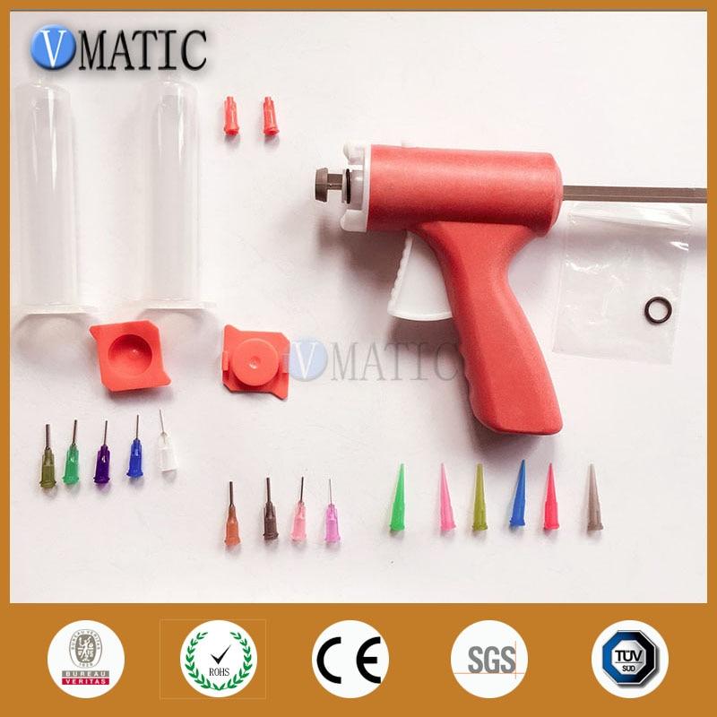Купить с кэшбэком Free Shipping 10cc 10ml Manually Single Liquid Dispensing Glue Caulking Syringe Gun With Syringe Set + Luer Lock Needles