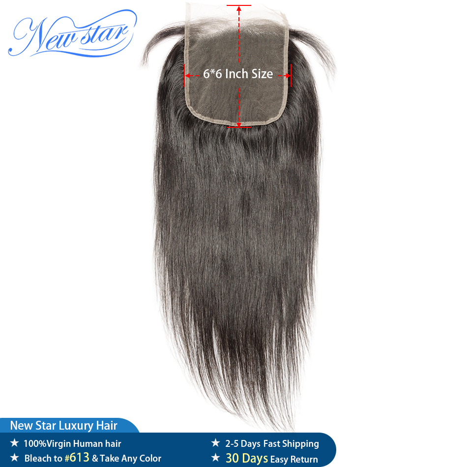 Lace Closure Hairline Human-Hair Brazilian 6x6 Virgin Straight Pre-Plucked New Star