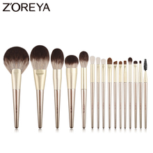 ZOREYA 16Pcs Gold Luxury Makeup Brushes Super Quality Synthetic Hair Make Up Brush Kit Eye Shadow Blending Powder Tools Set