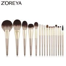 ZOREYA 16Pcs Gold Luxury แปรงแต่งหน้าคุณภาพสูง Synthetic Hair Make Up ชุดแปรงแต่งหน้า Eye Shadow Powder เครื่องมือชุด