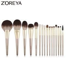 ZOREYA 16Pcs Ouro Pincéis De Maquiagem de Luxo Super Qualidade Cabelo Sintético Compõem Ferramentas Kit Escova Da Sombra de Olho de Mistura Em Pó conjunto